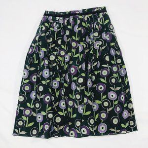 Graphic floral silk cotton pleated skirt